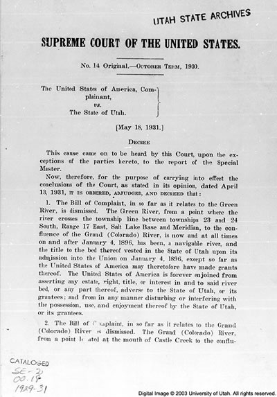 United States, Complainant vs. the State of Utah, 1931