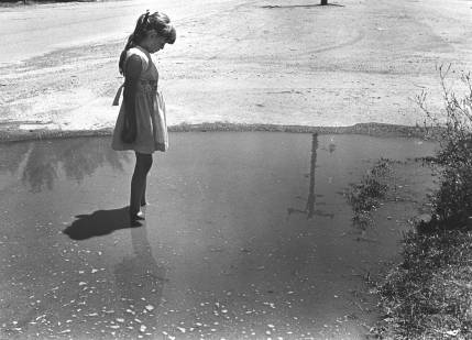 Girl in flood water