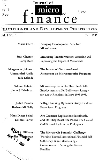 Vol. 01 No. 1 Journal of Microfinance