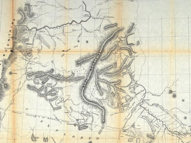 1860 Map exhibiting the routes between Fort Dalles and the Great Salt Lake