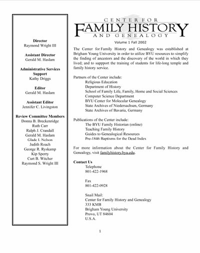 Vol 1 Fall 2002 The BYU Family Historian