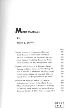 Editorial Research Reports - Mixed Marriage