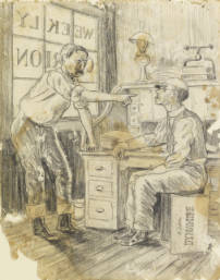 Drawing of two men in newspaper office
