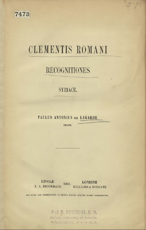 Clementis Romani Recognitiones syriace