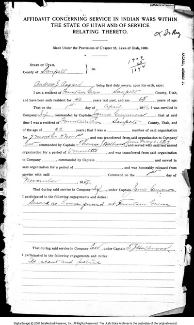 Affidavit Concerning Service in Indian Wars