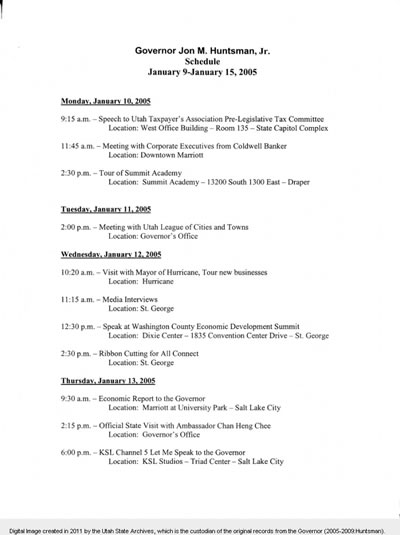 Jon Huntsman's Schedule January 2005