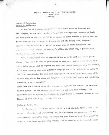 Transcript of Mayor J. Bracken Lee's testimonial dinner, Hotel Utah, January 7, 1972