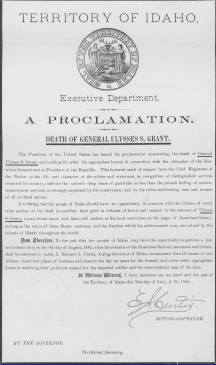 Proclamation - Governor E. A. Curtis - Death of General Grant