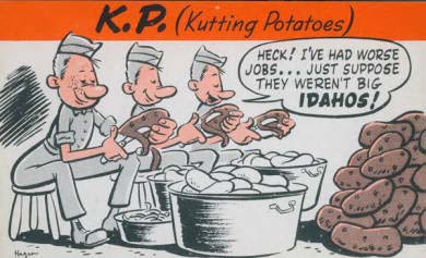 Postcard of soliders peeling potatoes