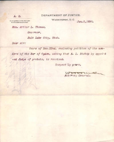 Department of Justice Letter 1890