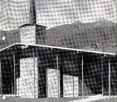Black and white photograph of a building.