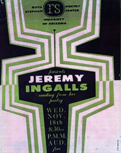 Publicity poster for a reading by Jeremy Ingalls