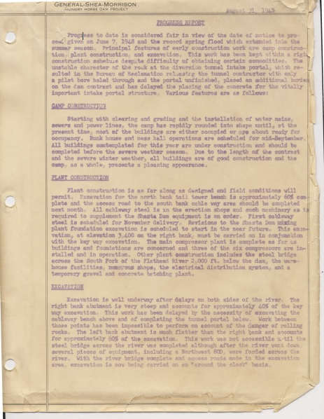Hungry Horse Dam Construction Reports (1948-1953)