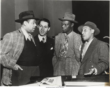 Duke Ellington, Leonard Feather, Nat King Cole, and Johnny Hodges
