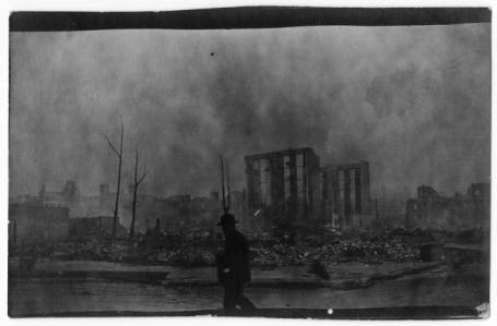 View of ruins from O'Farrell and Larkin Streets after the San Francisco Fire and Earthquake, San Francisco, California, April 20, 1906