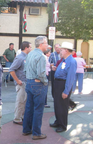 Pete Cenarrusa, right, at a Basque festival in Boise's Basque Block with Alan Virta and Jim Duran from the Boise State University Library, Special Collections and Archives.