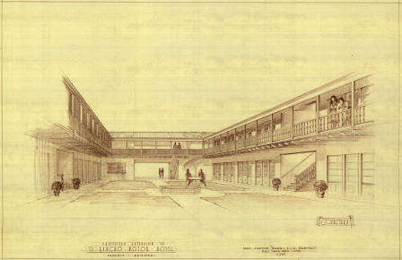 <em>Proposed extension to El Rancho Moter Hotel, Phoenix, Arizona, courtyard</em>