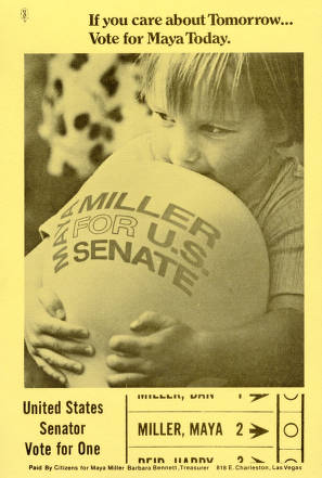 <em>Advertising flier for Maya Miller's U.S. Senate Campaign, 1974</em>
