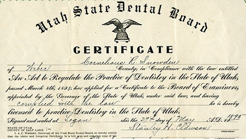 Weber County (Utah) Clerk Dentistry and Optometry Board Certificates