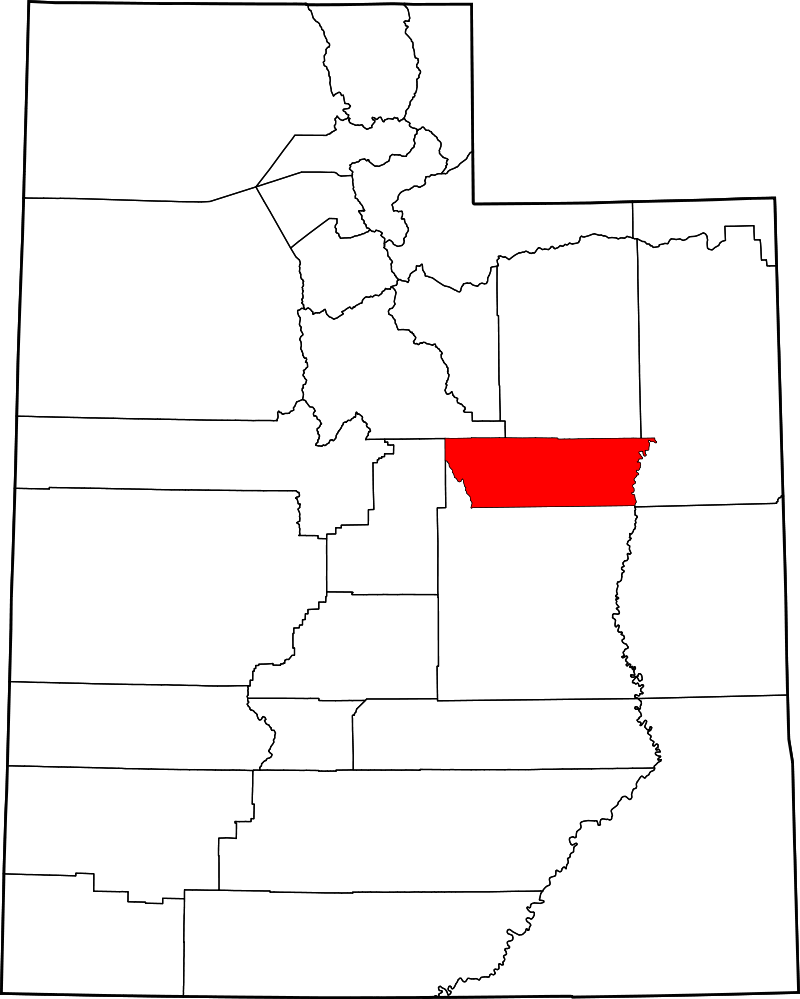 A map highlighting the location of Carbon County in Utah.