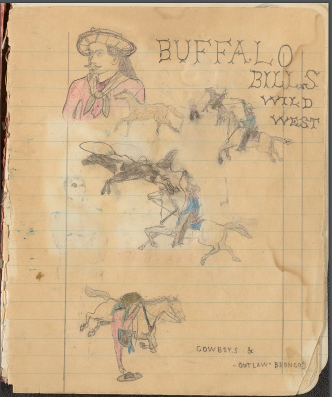 Sketchbook by unknown artist depicting scenes of Nez Perce and Cayuse Indian warfare along with drawings of soldiers, cowboys, and athletes.