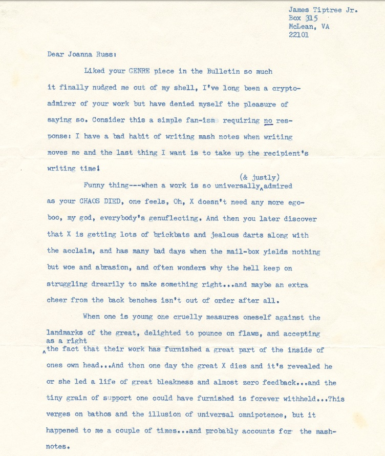 Correspondence between Joanna Russ and James Tiptree,, Jr. (Alice Sheldon)