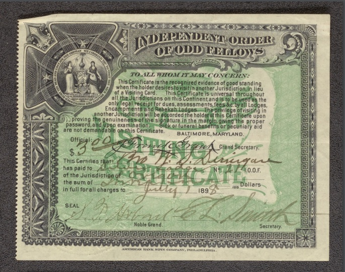 Independent Order of Odd Fellows Certificate (July 1898)