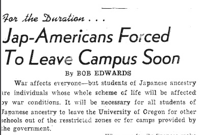 Newspaper clipping related to NJSRC and its impact at the University of Oregon (Spring 1942)