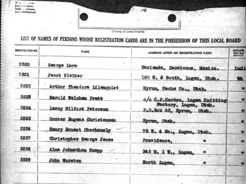 A list of names of men registered for the draft during World War 1.