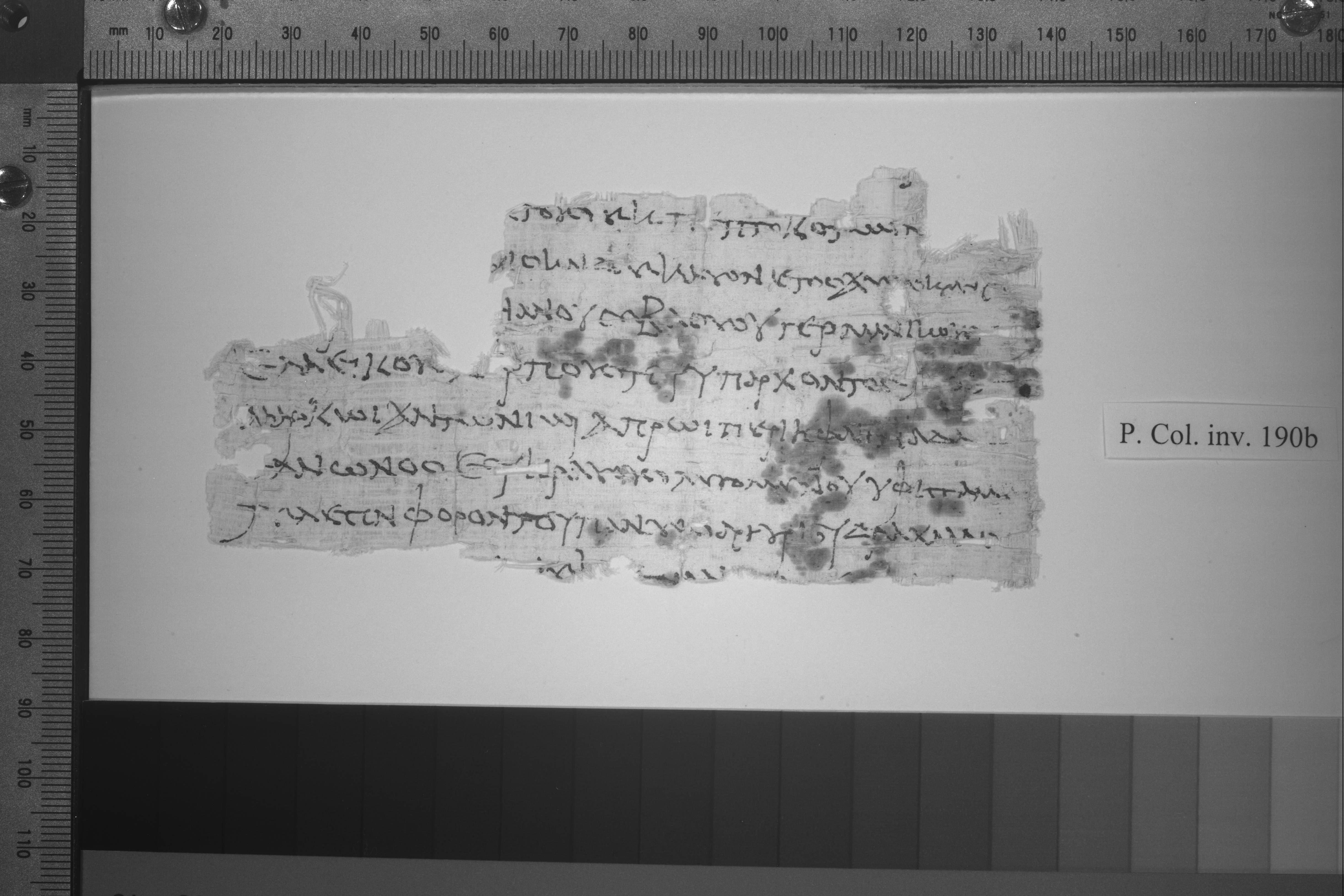 A multispectral image of a very old scrap of ancient Greek writing.