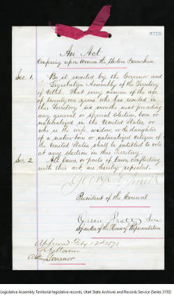 1870; Acts and Bills; 12 Feb; 14, Act conferring upon women the elective franchise