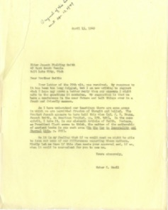 Heber C. Snell's outgoing correspondence to Joseph  Fielding Smith (April 13 1949)